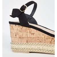 Black Espadrille Flatform Sandals New Look