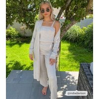 Cream Ribbed Knit Wide Leg Trousers New Look