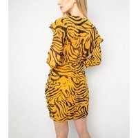 Another Look Yellow Zebra Print Mini Dress New Look