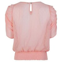 Pale Pink Spot Metallic Stripe Puff Sleeve Blouse New Look