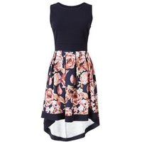 Mela Blue Floral Dip Hem Dress New Look