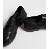Black Leather-Look Lace Up Brogues New Look Vegan