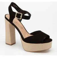 Black Canvas Platform Block Heel Sandals New Look
