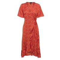 Red Spot Print Ruffle Wrap Midi Dress New Look