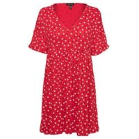 Red Ditsy Floral Smock Mini Dress New Look