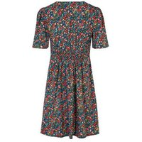 Black Floral Button Front Tea Dress New Look