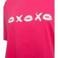 Bright Pink Kiss Print T-Shirt New Look