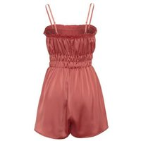 Cameo Rose Coral Satin Strappy Playsuit New Look
