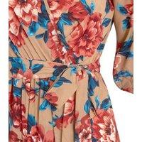 Mela Tan Floral Tie Sleeve Wrap Jumpsuit New Look