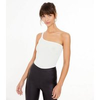 White Jersey One Shoulder Bodysuit New Look