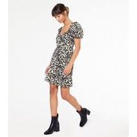 Black Animal Print Belted Ruched Mini Dress New Look