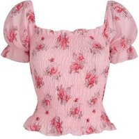 Cameo Rose Pink Floral Puff Sleeve Top New Look