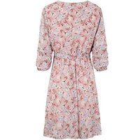 Honey Behave Pink Floral Ruched Sleeve Wrap Dress New Look