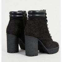Wide Fit Black Suedette Lace Up Block Heel Boots New Look Vegan