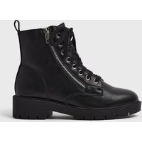 Black Leather-Look Zip Lace Up Boots New Look