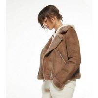 Mink Faux Fur Lined Suedette Aviator Jacket New Look