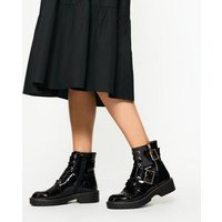 Black Patent Lace Up Buckle Boots New Look Vegan