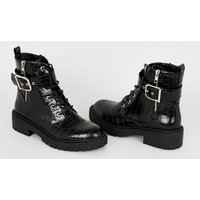 Black Faux Croc Lace Up Chunky Boots New Look Vegan