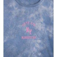 Girls Blue Tie Dye Manhattan Slogan T-Shirt New Look