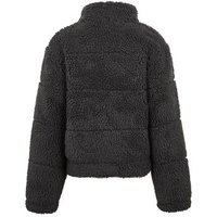 Girls Dark Grey Teddy Puffer Jacket New Look