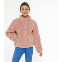 Girls Pink Teddy Puffer Jacket New Look