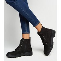 Girls Black Suedette Lace Up Boots New Look Vegan