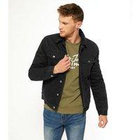 Mens Black Teddy Collar Denim Jacket New Look