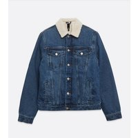 Blue Teddy Collar Denim Jacket New Look