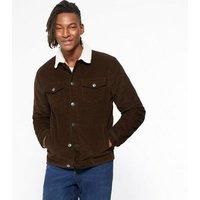 Dark Brown Teddy Trim Corduroy Jacket New Look