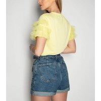 21st Mill Yellow Mesh Ruffle Sleeve T-Shirt New Look