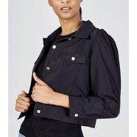 Pink Vanilla Black Puff Sleeve Boxy Jacket New Look