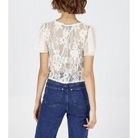 Pink Vanilla Cream Floral Lace Button Top New Look