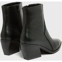 Black Pointed Block Heel Western Boots New Look Vegan