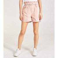 Pink Vanilla Mid Pink Belted High Waist Shorts New Look