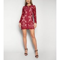 Love My Style Red Lace Long Sleeve Dress New Look