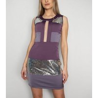 Love My Style Light Purple Sequin Cut Out Dress New Look