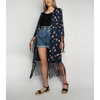 Love My Style Blue Floral Tassel Kimono New Look