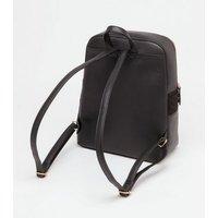 Black Suedette Quilted Laptop Backpack New Look Vegan