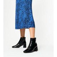Black Crinkle Patent Block Heel Ankle Boots New Look Vegan
