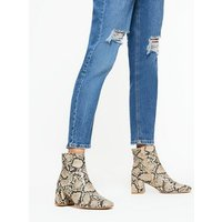 Stone Faux Snake Block Heel Ankle Boots New Look Vegan