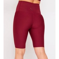 GymPro Burgundy Seamless Sports Cycling Shorts New Look