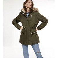 Khaki Faux Fur Hooded Long Parka Jacket New Look