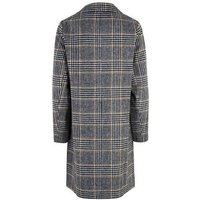 Black Check Woven Long Coat New Look