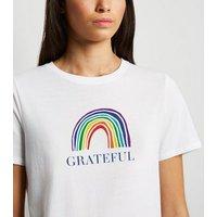 Petite White Grateful Rainbow Slogan Charity T-Shirt New Look