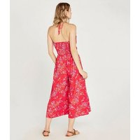 Apricot Bright Pink Tropical Halterneck Jumpsuit New Look