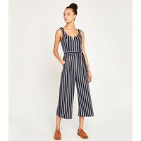 Apricot Navy Stripe Wide Leg Jumpsuit New Look