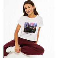 Girls White Photographic Friends T-Shirt New Look
