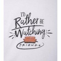 Girls White Watching Friends Slogan T-Shirt New Look