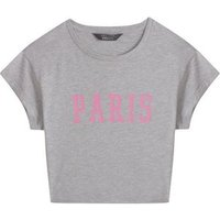 Girls Grey Paris Slogan T-Shirt New Look