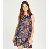 Apricot Blue Floral Tile Print Skater Dress New Look